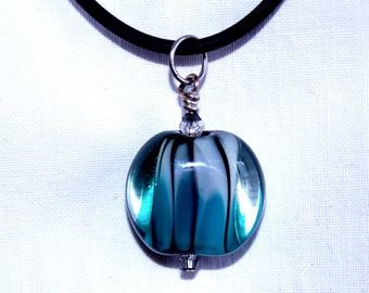 Lampwork pendant (or keyring) - candy stripe - transparent turquoise and clear glass with black stripes- SRA
