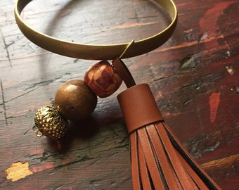 Diffusing Leather Tassel Bangle with Beads