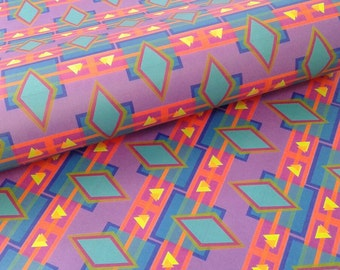 Tribal geometric wrapping paper sheets, colorful Turquoise and Magenta diamonds and triangles, 20 x 29 inches each, shipped rolled in tube