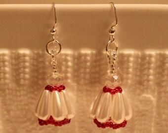 Pearl & crystal beaded handmade earrings in white and red; beadweaving