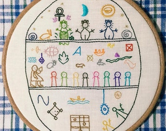 shamanic drum embroidery hoop art