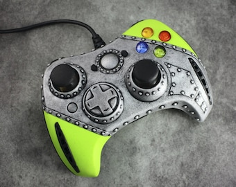 Cyberpunk controller for Xbox. Green acid modding gamepad. Xbox 360, Xbox One video games. Industrial/cyber/sci-fi style. MADE to ORDER!