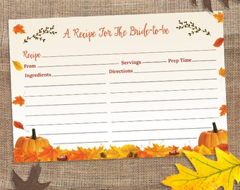 "Printable Rustic Autumn Pumpkin and Leaves Recipe Card,  Bridal Wedding Shower, 6""x4"", JPG Instant Download"
