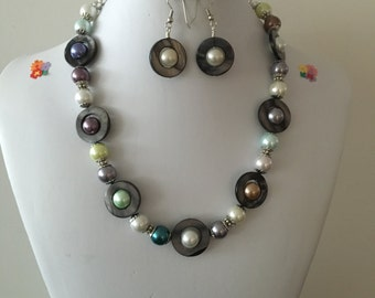 Multi Colored Necklace & earrings