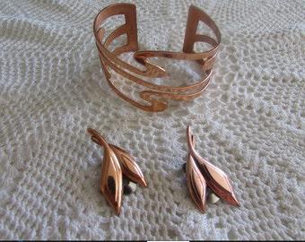 Vintage Renoir Matisse Cuff Bracelet and Earrings/Vintage Matisse/Vintage Modernist Copper Jewelry/Eames Era - FREE SHIPPING!!!