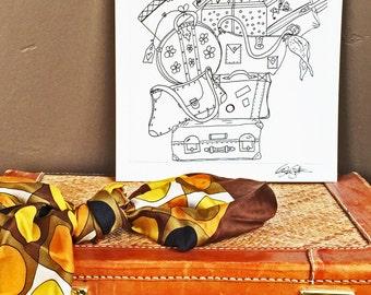 Let's Go! - Hand Drawn, Pen and Ink, Art Print, illustration, Wall art, Kids Room Art, honeymoon, vacation, dorm room,  dressing room
