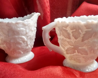 Milk Glass    Sugar and Creamer set    Westmoreland   Bramble