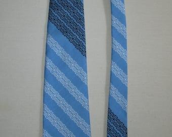 Mens 1970s Light Blue Striped Tie by Beau Brummel Mr Wonderful