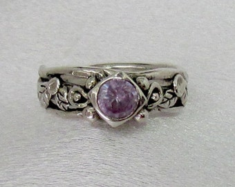 Item 158- Handcrafted, sculpted, carved  999 Fine and 925 Sterling Silver Ring with Round Lavender Cubic Zircona Leaves Ring