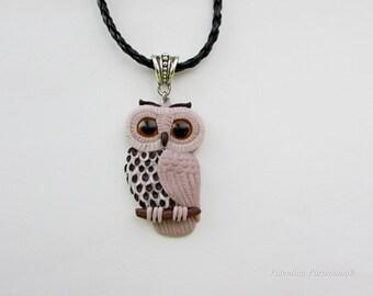 Owl necklace polymer clay Jewelry handmade Owl pendant birds jewellery