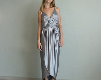 Silver bridesmaid dress - wrap maxi silver dress - spaghetti maxi silver dress