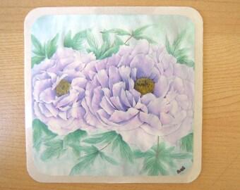 Purple peony watercolour coasters or wall decor (set of 4)