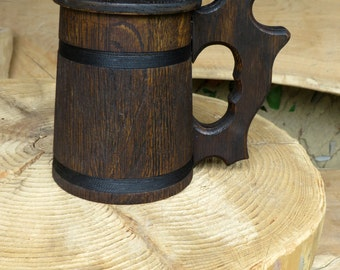 Man's Gift, Wooden Beer Mug, Oak Wood Jug, Beer Tankard, Gift for Men, Stein For Beer Lovers, Rustic Decor, Wood Beer Stein, Groomsmen Gift