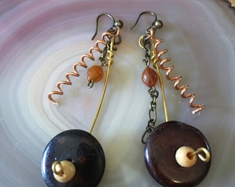 amber / wood bead and coil earrings