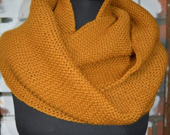 Hooded Scarf / Circle Scarf / Mustard Infinity Scarf / Color Mustard / Hand Knit / Fall Scarf