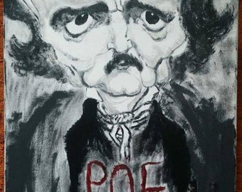 Edgar Allan Poe Caricature Painting