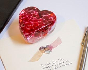 Heart Paperweight Blown Art Glass Home Office Decor Pink Red Cranberry Heavy Heart