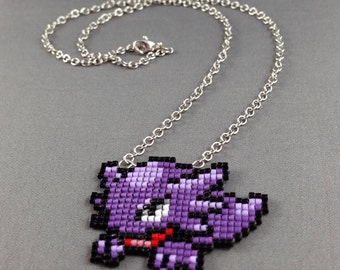 Haunter Necklace - Pixel Necklace Pokemon Necklace Pixel Jewelry 8 bit Necklace Seed Bead Neklace Video Game Necklace Ghost Pokemon