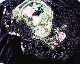 Vintage Rose and Bird OOAK Velvet Dress Hand Embroidery