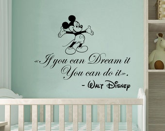 Mickey Mouse Wall Decals Quote If You Can Dream It You Can Do It Home Vinyl Stickers Boy Girl Kids Nursery Baby Room Decor NV75