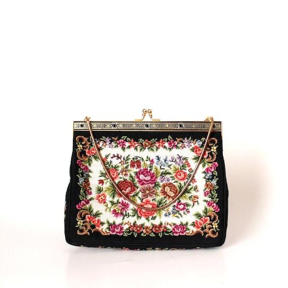 vintage tapestry purse . petit point look purse . floral