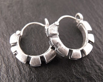 Double Cog Hoops in Sterling Silver - Handmade in Seattle