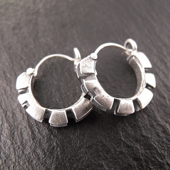 Double Cog Hoops in Sterling Silver - Handmade in Seattle