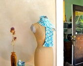 Hand Knit Scarf Icy Blue with Rose Flecks Original Design Knitwear Hand Dyed Merino Wool