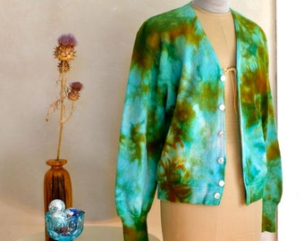 Hand Dyed Wool Cardigan Sweater in Bright Fall Colors Rust Aqua Blue