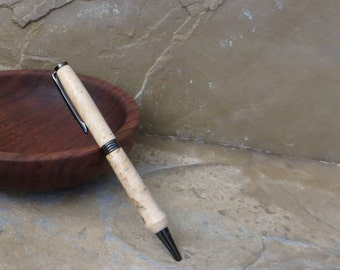 Ball Point Pen - Hand Turned Wood - Box Elder - Black Ink Cartridge