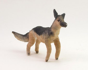 Spun Cotton Vintage Inspired German Shepherd Dog Ornament/Figure