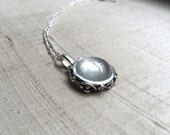White Moonstone and Sterling- Midnight End of the Garden Pendant