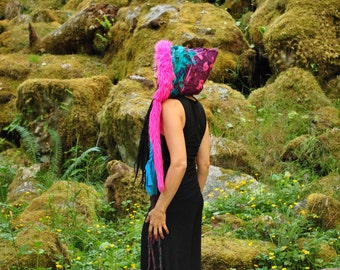 Festival Hood, Festival Clothing, Scoodie, Original Intergalactic Apparel Interstellar Weave Hooded Scarf, Eco Gypsy Hood, Pixie Hood