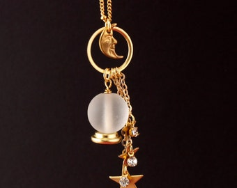 Crystal Ball Necklace - Celestial Necklace - Fortune Teller Costume - Halloween Costume - Halloween Jewelry - Moon Jewelry - Gold Necklace
