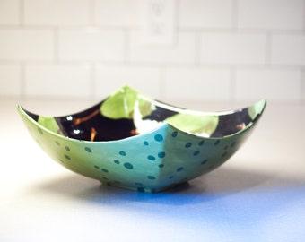 Serving Bowl Large Serving Bowl Family Style Serving Pear Lg Square Minimalist Bowl Black & Green Pear Pottery Serving Hostess Gift Ceramic