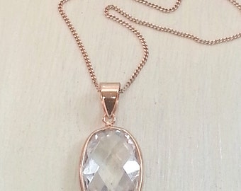 Pink Rose Gold Vermeil Necklace, Clear Quartz Pendant, 18 inch Chain, bridesmaid wedding jewelry, BFF layering necklace