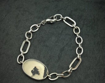 Foliage- Sterling silver and dendrite quartz bracelet- One of a kind.