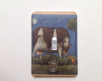 Switch Plate Cover,   - Light Switch Plate - Single Toggle/ Cow Farm Scene