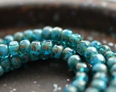 Blue Bits - Czech Glass Seed Beads, Opaque And Transparent Blue Turquoise, Picasso Finish, Trica Cut Beads 4x3mm - Pc 50