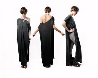 BABOOSHKA Vent Tee Maxi Dress - Modern Oversized Long Tunic Short Sleeve Convertible Off Shoulder Wide Scoop Neck Black White Charcoal Gray