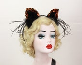 Orange Leopard, Cat Ears, Halloween Costume, Cat Ears Headband, Orange Leopard, Any Color You Choose, Cosplay Kitty, Sexy Cat Costume