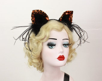 Orange Leopard, Cat Ears, Halloween Costume, Cat Ears Headband, Orange Leopard, Any Color You Choose, Cosplay Kitty, Sexy Cat Costume