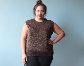 plus size top / sleeveless copper threaded knit top / 1980s / XXL