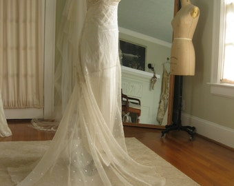 Ethereal Low Back Deco Lace Wedding Gown Beach wedding dress Boho Wedding dress Bridal Gown Vintage, One Of a Kind
