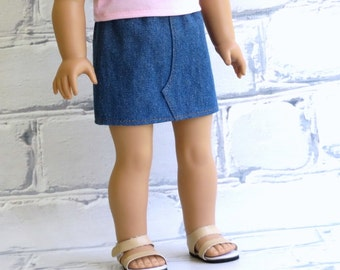 18 inch Doll Clothes Denim Mini Skirt, Blue Denim Skirt with Rust Brown Stitching