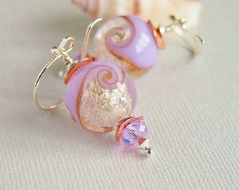 Violet Sparkle Lampwork Earrings, Sterling Silver, Artisan Lampwork, Glitter, Copper, Beaded Earrings - WINTER PANSY