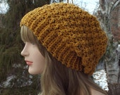 Mustard Yellow Crochet Hat, Womens Slouchy Beanie, Oversized Slouch Beanie, Chunky Hat, Slouchy Tweed Hat, Winter Hat, Slouch Hat