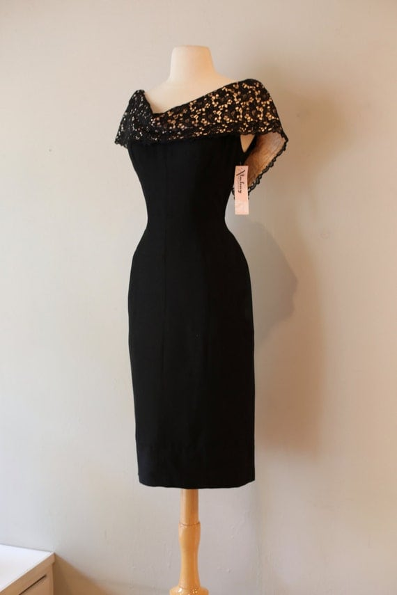 1950's Black Fitted Wiggle Dress Vintage 1950's