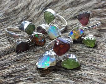 Raw opal ring | Garnet ring | Rough peridot ring | Multistone ring | Opal in silver ring | Garnet ring | Birthstone ring | Chunky stone ring