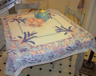 Vintage Tablecloth Jungle of Tropical Fruit
